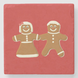 Gingerbread Man and Woman on Red Stone Coaster