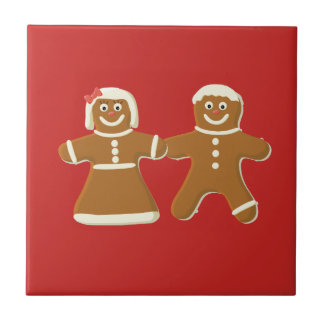 Gingerbread Man and Woman on Red Tile