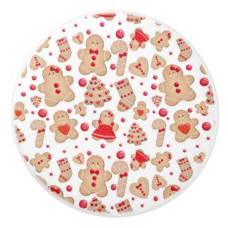 Gingerbread Man Baked Cookies Rustic Whimsical Ceramic Knob