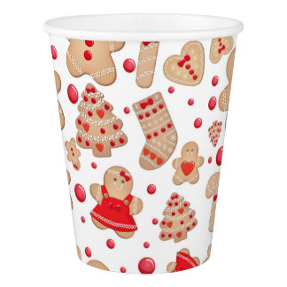 Gingerbread Man Baked Cookies Rustic Whimsical Paper Cup