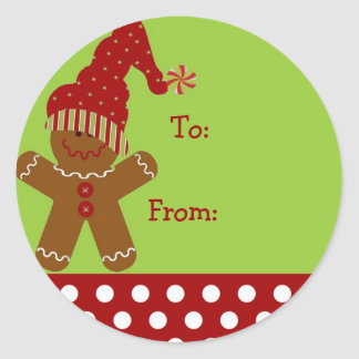 Gingerbread Man Chirstmas Gift Tag Round Sticker