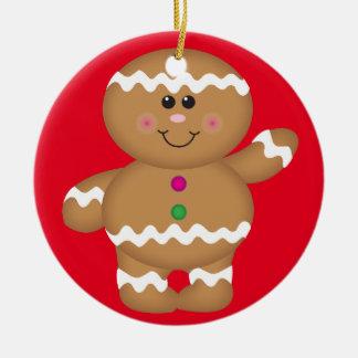 Gingerbread Man Christmas Decoration Round Ceramic Ornament