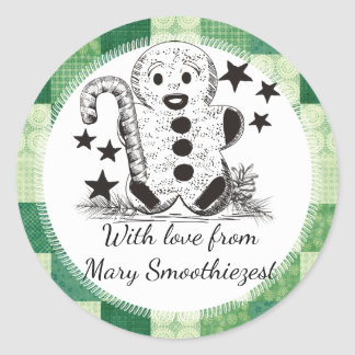 Gingerbread man Christmas food from the kitchen of Round Sticker