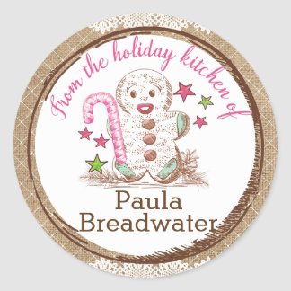 Gingerbread man Christmas from the kitchen of Classic Round Sticker