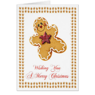 Gingerbread Man Christmas Greeting Card