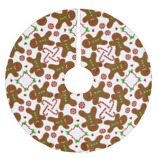 Gingerbread man Christmas personalizable Brushed Polyester Tree Skirt