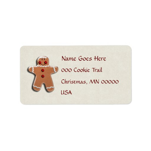 Gingerbread Man Cookie Address Label