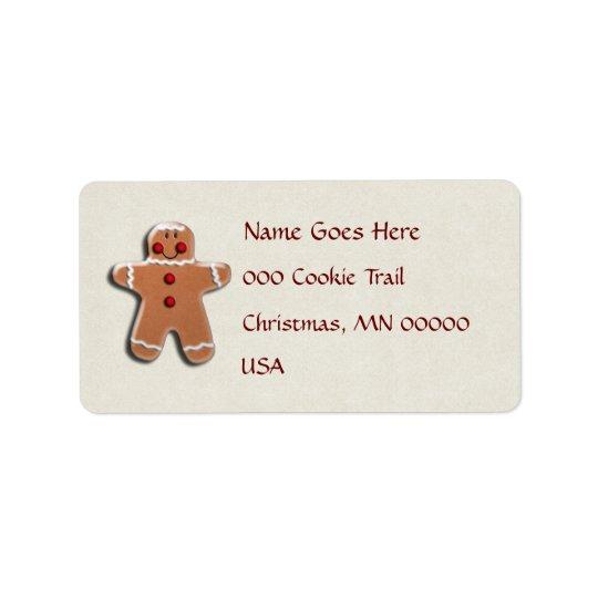 Gingerbread Man Cookie Label