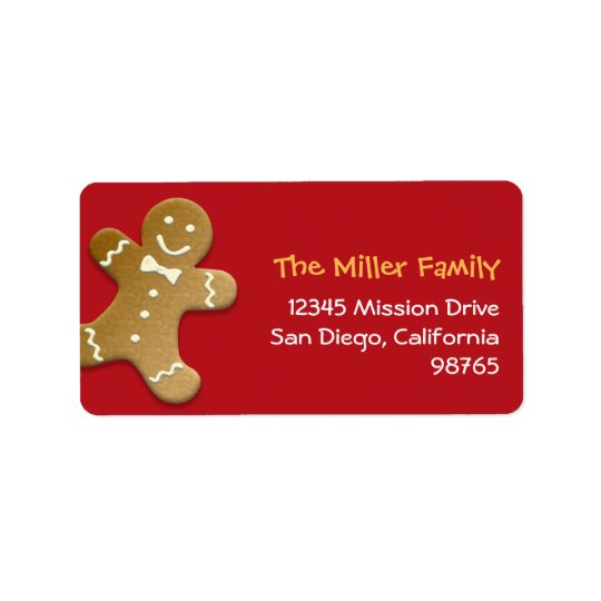 Gingerbread man cookie red holiday return address label