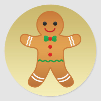Gingerbread Man | Faux Gold Christmas Sticker