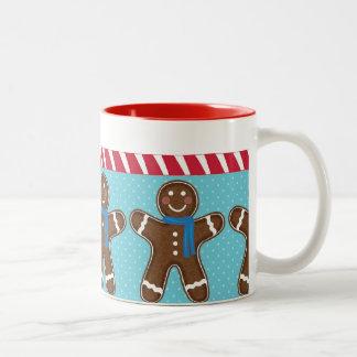 Gingerbread Man Happy Holidays Winter Two-Tone Coffee Mug