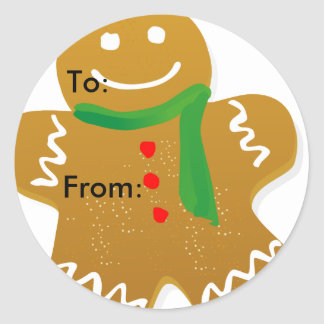 Gingerbread Man Holiday Gift Tag Stickers