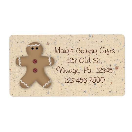 Gingerbread Man Holiday Label
