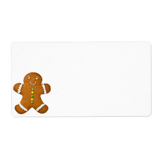 Gingerbread Man Isolated On White Background Shipping Label