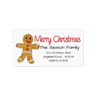 Gingerbread man Merry Christmas  address label