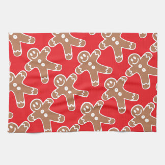 Gingerbread Man on Red Kitchen Towels