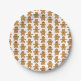 Gingerbread Man Pattern Paper Plate