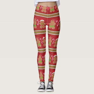 Gingerbread Man Red and Green Horizontal Stripes Leggings