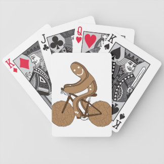 Gingerbread Man Riding Bike With Gingersnap Cookie Bicycle Playing Cards