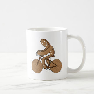 Gingerbread Man Riding Bike With Gingersnap Cookie Coffee Mug