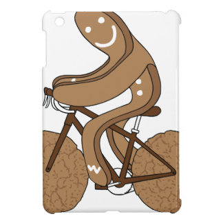 Gingerbread Man Riding Bike With Gingersnap Cookie iPad Mini Cases