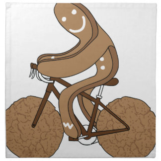 Gingerbread Man Riding Bike With Gingersnap Cookie Napkin