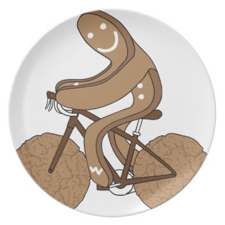 Gingerbread Man Riding Bike With Gingersnap Cookie Plate