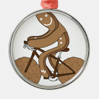 Gingerbread Man Riding Bike With Gingersnap Cookie Silver-Colored Round Ornament