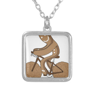 Gingerbread Man Riding Bike With Gingersnap Cookie Silver Plated Necklace
