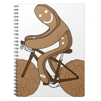 Gingerbread Man Riding Bike With Gingersnap Cookie Spiral Notebook