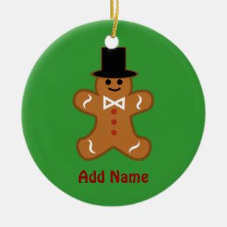 Gingerbread Man Round Ceramic Ornament