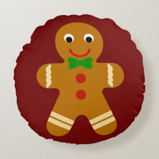 Gingerbread Man Round Pillow
