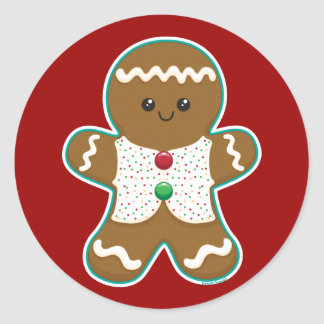Gingerbread Man Round Sticker