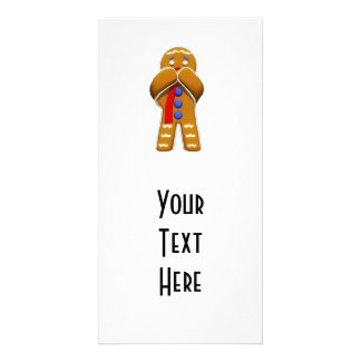 Gingerbread Man - Scared - Original Colors Personalized Photo Card