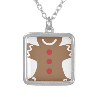 Gingerbread Man Silver Plated Necklace