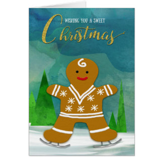 Gingerbread Man Skating on Ice Sweet Christmas Card