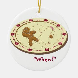 Gingerbread Man Survives! Round Ceramic Ornament