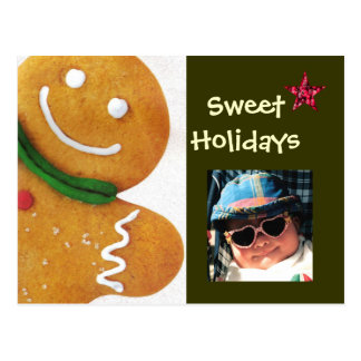 Gingerbread Man Sweet Holidays Photo Postcard