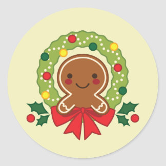 gingerbread man, winter, Christmas, holiday, wreat Classic Round Sticker