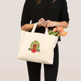 Gingerbread Man with Christmas Wreath Illustration Mini Tote Bag