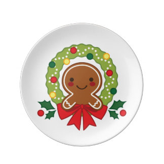 Gingerbread Man with Christmas Wreath Illustration Plate