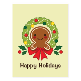Gingerbread Man with Christmas Wreath Illustration Postcard