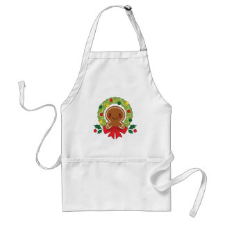 Gingerbread Man with Christmas Wreath Illustration Standard Apron