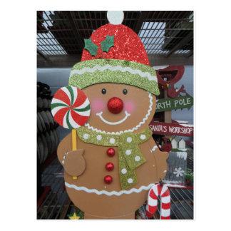 Gingerbread Man With Lollipop Postcard