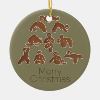 Gingerbread Man Yoga Circle Ornament