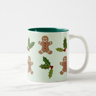 Gingerbread Men and Holly Two-Tone Coffee Mug