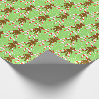 Gingerbread Men & Candy Christmas Wrapping Paper