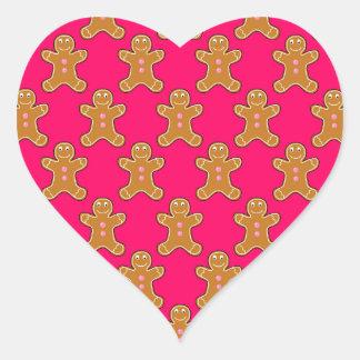 Gingerbread Men Heart Sticker