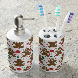 Gingerbread Men Holiday Pattern Soap Dispenser And Toothbrush Holder