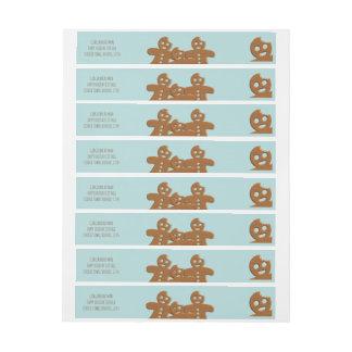 Gingerbread Men Holiday Wraparound Address Labels Wraparound Address Label